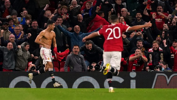 Manchester United's Cristiano Ronaldo celebrates after scoring a late winner against Villarreal.