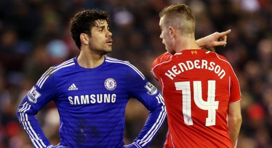 Chelsea's Diego Costa squares up to Liverpool's Jordan Henderson
