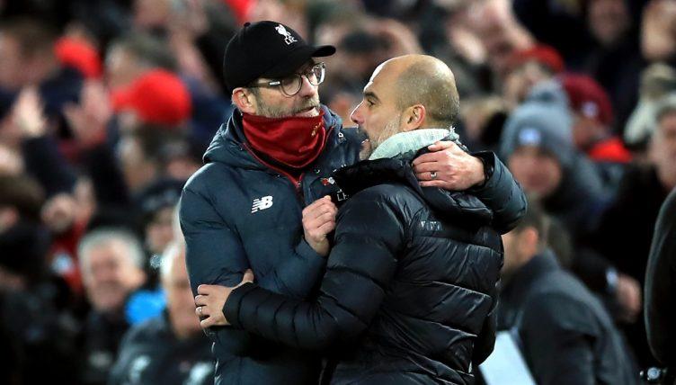 Liverpool manager Jurgen Klopp and Man City manager Pep Guardiola