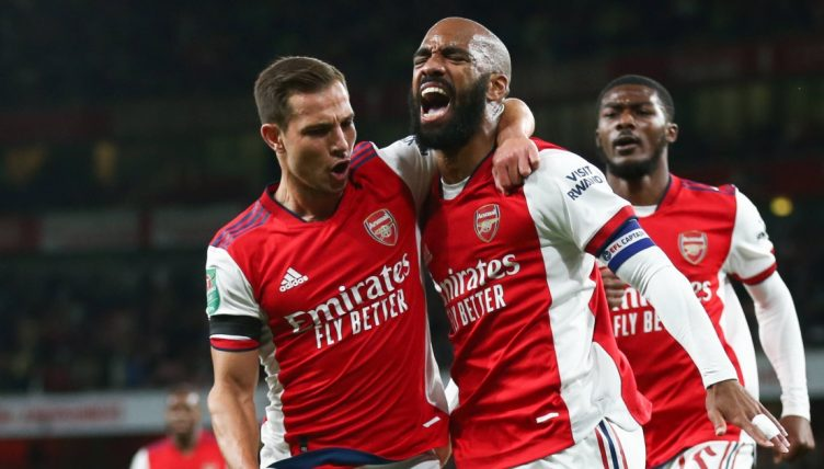 Arsenal's Alexandre Lacazette celebrates after scoring against AFC Wimbledon in the EFL Cup.