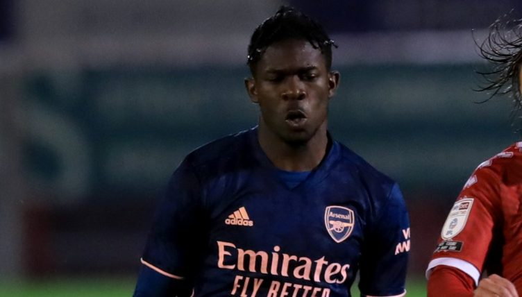 Tim Akinola in action for Arsenal's U21 team against Crawley Town. October 2020.