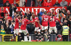 Anthony Martial celebrates goal after scoring against Everton - October 2021
