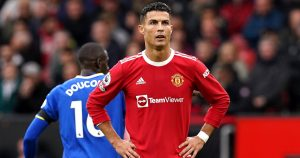 Crisitano Ronaldo stands with hands on hips looking annoyed as Manchester United draw with Everton. October 2021.