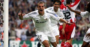 Roberto Soldado celebrates scoring for Real Madrid in September 2005.