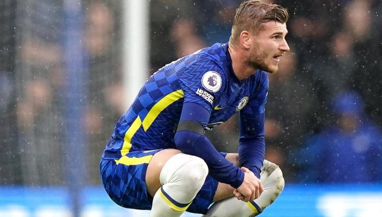 Timo Werner playing for Chelsea against Southampton 2021