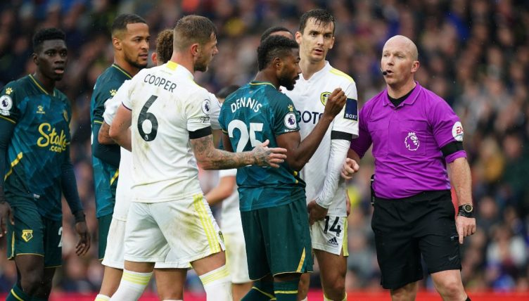 Leeds United and Watford players confront Referee - October 2021