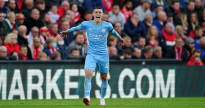 Man City's Phil Foden celebrating against Liverpool, October 2021.