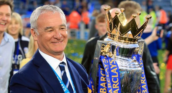 Leicester City manager Claudio Ranieri with the Premier League trophy