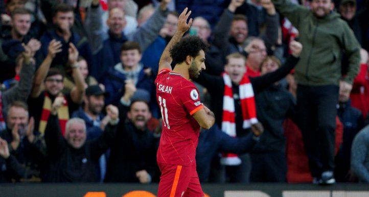 Mohamed Salah celebrates scoring Liverpool's second goal against Manchester City. October 2021.