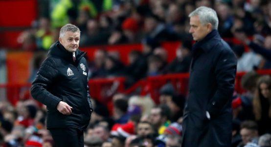 Manchester United's Ole Gunnar Solskjaer and Tottenham's Jose Mourinho.