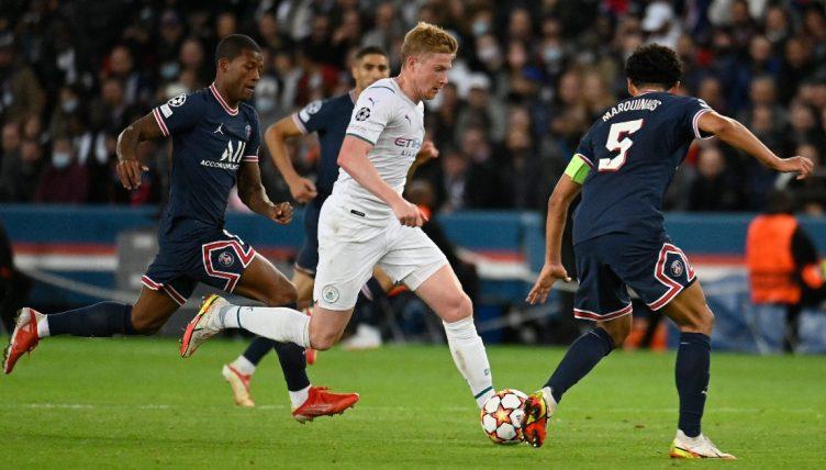 Kevin De Bruyne playes for Manchester City against Paris Saint-Germain. September 2021.