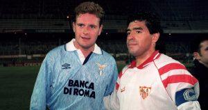 Paul Gascoigne and Diego Maradona stand side by side before the Lazio v Sevilla game. November 1992.