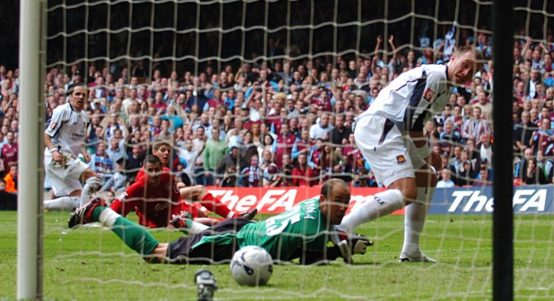 Dean Ashton scores for West Ham in the 2006 FA Cup final. Cardiff, May 2006.