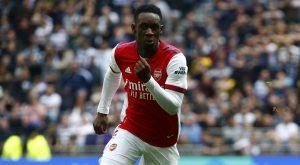 Folarin Balogun playing for Arsenal against Tottenham. August 2021.