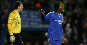 Chelsea's Didier Drogba and Arsenal goalkeeper Jens Lehmann