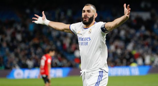 Real Madrid striker Karim Benzema celebrating