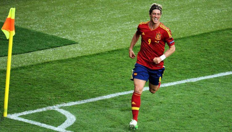 Fernando Torres celebrates scoring for Spain in the Euro 2012 final.