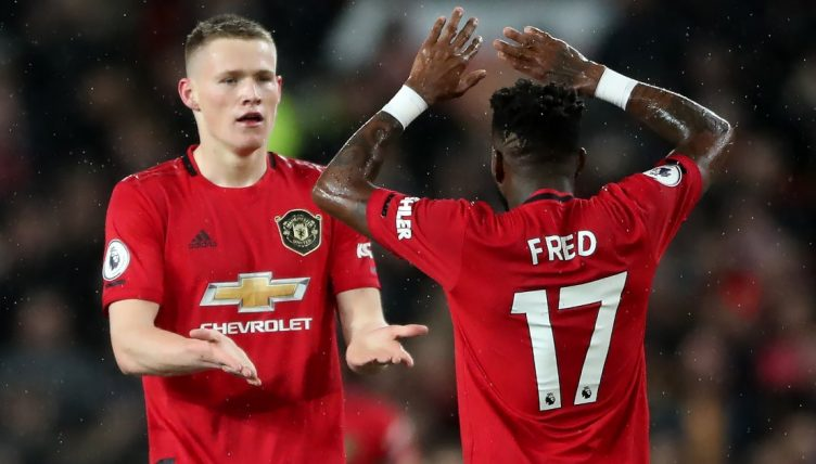 Scott McTominay and Fred celebrate a Manchester United goal. March 2020.