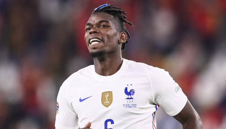 Paul Pogba playing for France against Belgium. in the UEFA Nations League.