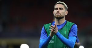 Jorginho warms up during the UEFA Nations League Finals 2021 semi-final football match between Italy and Spain.