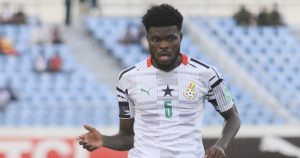 Thomas Partey playing for Ghana.