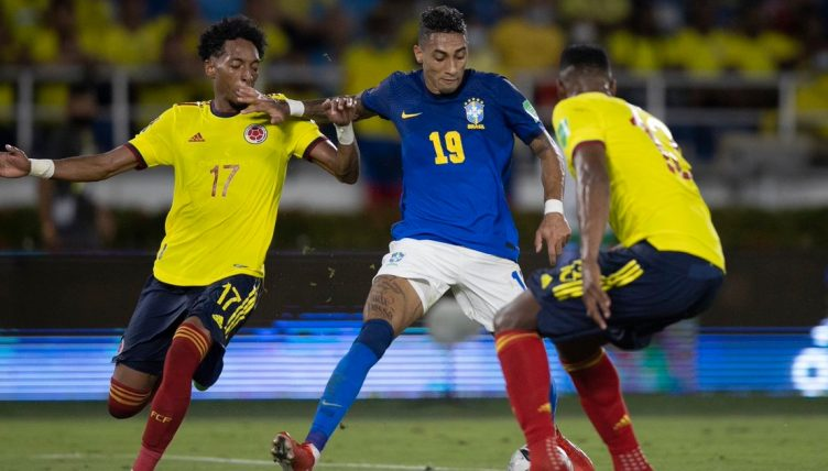 Leeds United winger Raphinha playing for Brazil