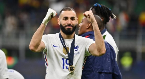 Karim Benzema celebrates after France win the UEFA Nations League.