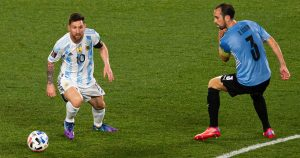 Former Barcelona icon Lionel Messi playing for Argentina