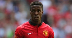 Wilfried Zaha playing for Manchester United .