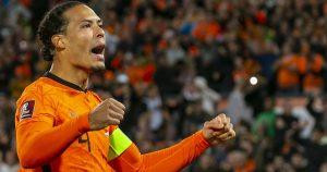 Virgil van Dijk celebrates after Netherlands score against Gibraltar. October 2021.