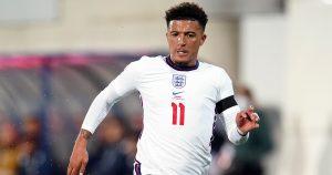 Jadon Sancho playing for England.