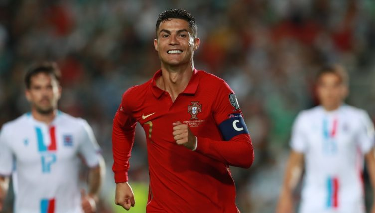Portugal's Cristiano Ronaldo celebrates after scoring against Luxembourg.