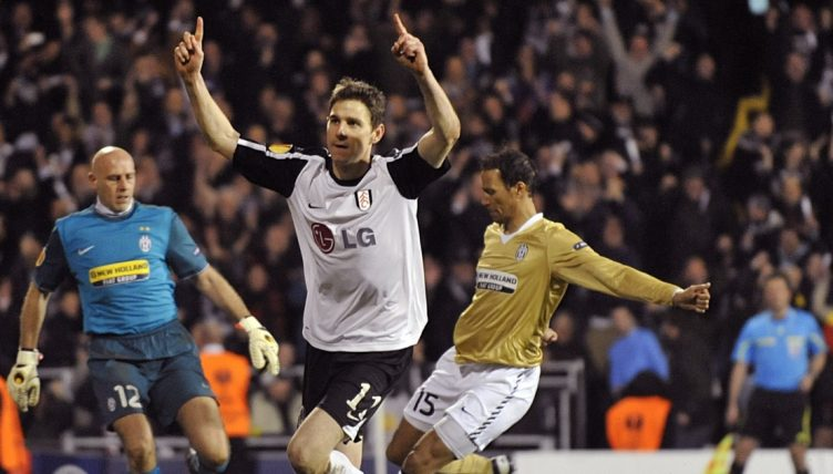 Fulham's Zoltan Gera celebrates after scoring a penalty against Juventus in the Europa League,