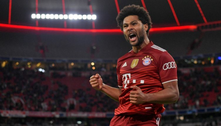 Bayern Munich's Serge Gnabry celebrates after scoring against Dynamo Kiev in the Champions League.