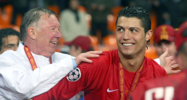 Cristiano Ronaldo and Sir Alex Ferguson celebrate after Manchester United win the Champions League.