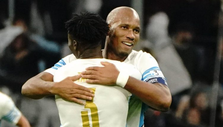 Dider Drogba celebrates scoring in a Marseille legends game. October 2021.