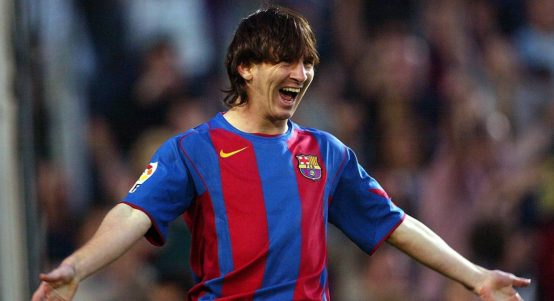 Barcelona's Lionel Messi celebrates after scoring against Albacete