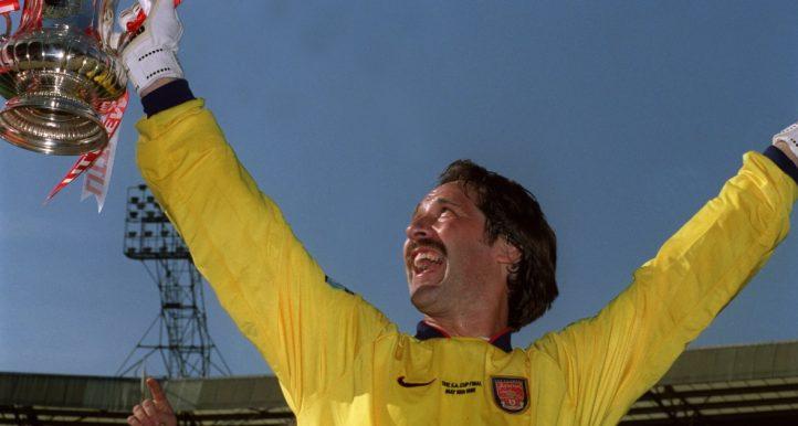 David Seaman lifts the FA Cup for Arsenal. May 1998.