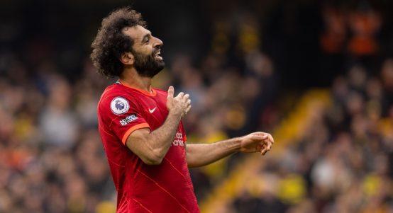 Mohamed Salah celebrates after scoring for Liverpool against Watford.