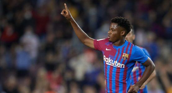 Ansu Fati celebrates after scoring for Barcelona.