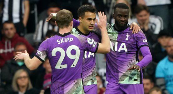 Tanguy Ndombele, Sergio Reguilon and Oliver Skipp celebrate Tottenham Hotspur's equaliser against Newcastle United.