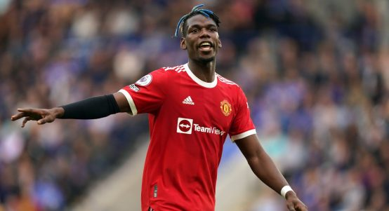 Paul Pogba playing for Manchester United against Leicester. October 2021.
