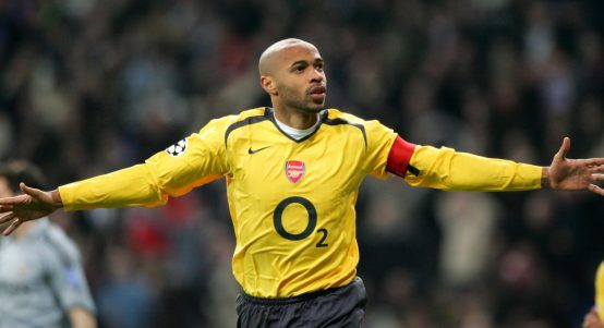 Theirry Henry celebrates scoring for Arsenal v Real Madrid in 2006.
