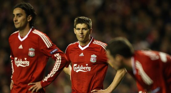 Liverpool players during the 2010 Europa League semi-final