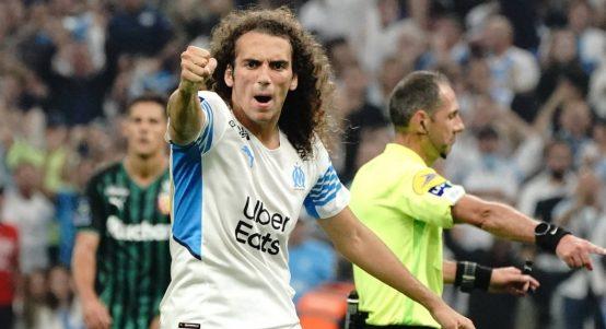 Matteo Guendouzi celebrates as Marseille play Lens. September 2021.