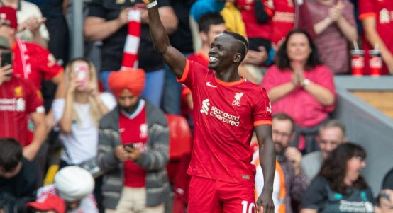 Liverpool's Sadio Mane celebrates scoring his 100th Premier League goal. October 2021.