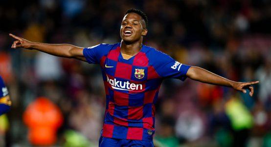 Barcelona's Ansu Fati celebrates after scoring against Levante. February 2020.