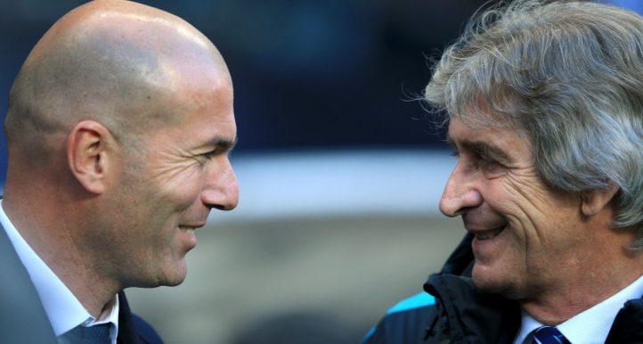 Zinedine Zidane and Mauel Pelegrini talke bfore Manchester City v Real Madrid. April 2016.