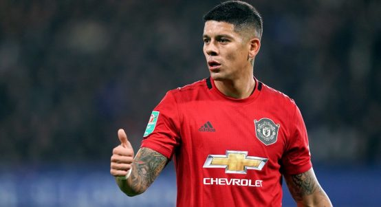 Manchester United's Marcos Rojo playing against Chelsea. October 2019.