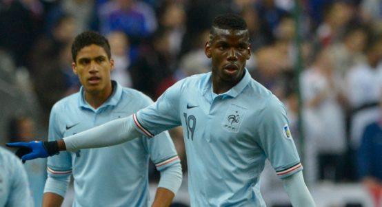 Paul Pogba Raphael Varane warm up for France